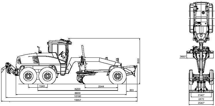 габаритная схема автогрейдера ГС-25.09
