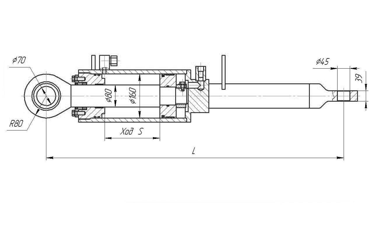 Гидроцилиндр перекоса отвала для бульдозера Т 170, Б10, Б12