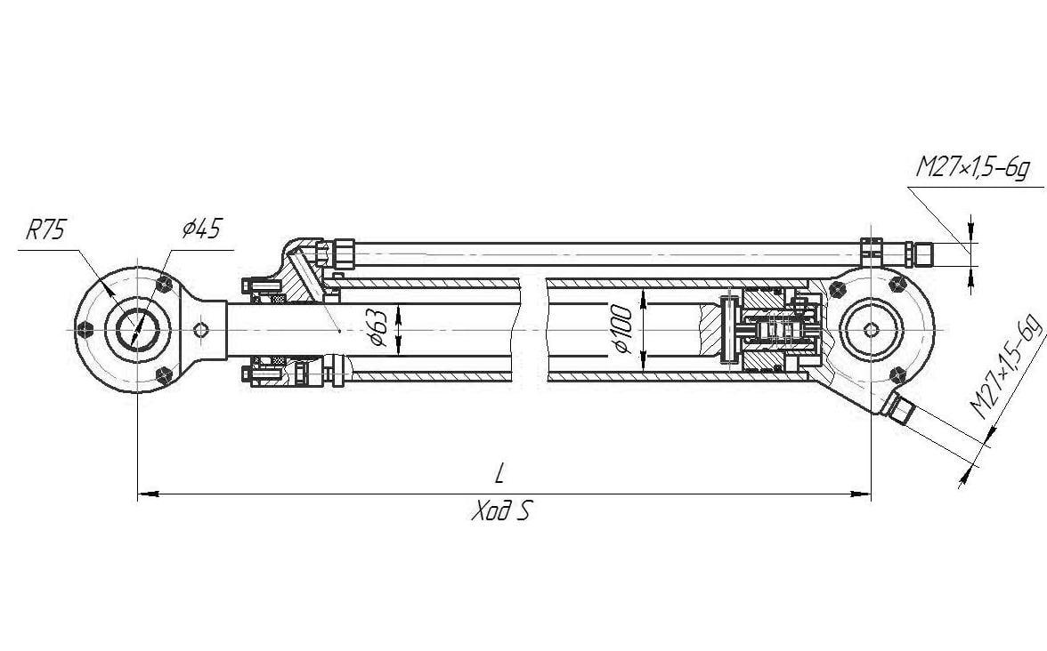 Гидроцилиндр подъёма отвала для бульдозера Т 170