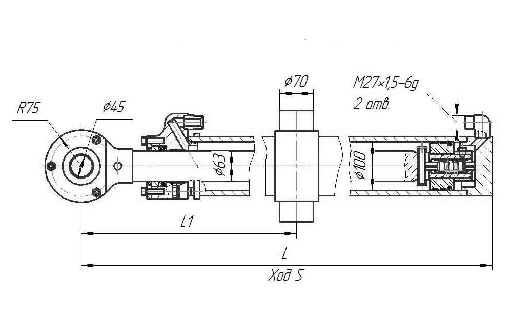 Гидроцилиндр подъёма отвала для бульдозера Б10